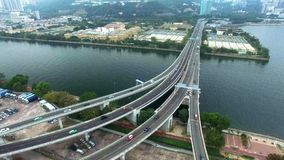 Aerial view over the bridge to monitor the traffic stock footage