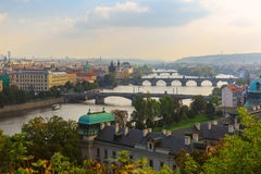 Aerial view over the bridges on the Vltava River in Prague, Czec Royalty Free Stock Image