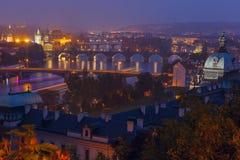 Aerial view over the bridges on the Vltava River in Prague, Czec Stock Photos