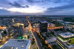 Aerial view over Bucharest at dusk panoramic skyline stock images