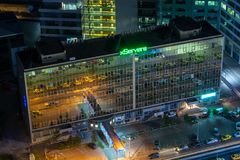 Aerial view over Bucharest at dusk panoramic skyline royalty free stock photos
