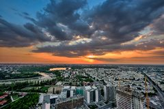 Aerial view over Bucharest at dusk panoramic skyline stock image