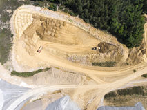 Aerial view over the building materials processing factory. Sand Stock Photography