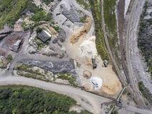Aerial view over the building materials processing factory. Sand Royalty Free Stock Photography
