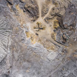 Aerial view over the building materials processing factory. Sand Stock Photos