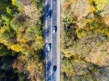 Aerial view over car travelling through colorful forest stock image