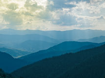 Aerial view over the Carpathian mountains - Ukraine Royalty Free Stock Photo
