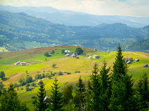 Aerial view over the Carpathian mountains - Ukraine - high resolution Stock Image