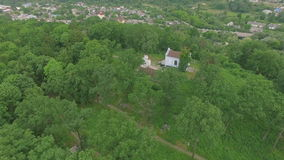 Aerial view over the cemetery at summer stock video