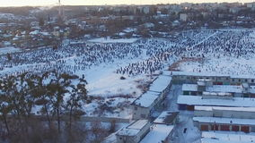 Aerial view over the cemetery at winter stock footage