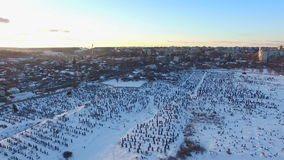 Aerial view over the cemetery at winter stock video