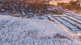 Aerial view over the cemetery at winter stock video footage