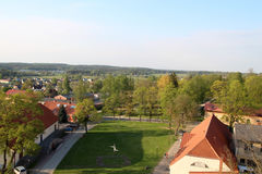 Aerial view over the center of Cesis old town Stock Photos