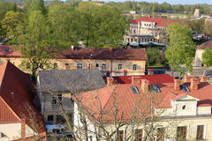 Aerial view over the center of Cesis old town Royalty Free Stock Photos