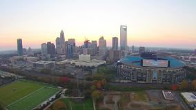 Aerial view over Charlotte North Carolina stock video footage