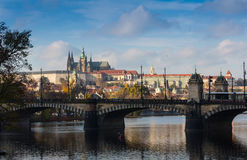 Aerial view over Church of Our Lady before Tyn, Old Town and Prague Castle at sunset in Prague, Czech Republic Stock Photos