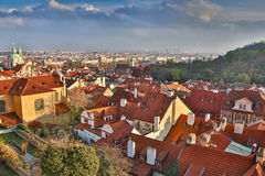 Aerial view over Church of Our Lady before Tyn, Old Town and Prague Castle at sunset in Prague, Czech Republic Stock Photo