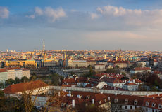 Aerial view over Church of Our Lady before Tyn, Old Town and Prague Castle at sunset in Prague, Czech Republic Stock Images