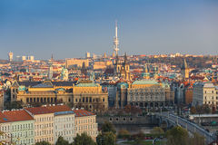 Aerial view over Church of Our Lady before Tyn, Old Town and Prague Castle at sunset in Prague, Czech Republic Royalty Free Stock Images