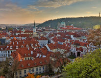 Aerial view over Church of Our Lady before Tyn, Old Town and Prague Castle at sunset in Prague, Czech Republic Royalty Free Stock Photography