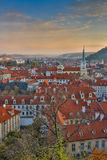 Aerial view over Church of Our Lady before Tyn, Old Town and Prague Castle at sunset in Prague, Czech Republic Royalty Free Stock Photos