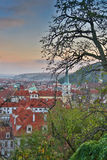 Aerial view over Church of Our Lady before Tyn, Old Town and Prague Castle at sunset in Prague, Czech Republic Stock Image