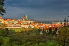 Aerial view over Church of Our Lady before Tyn, Old Town and Prague Castle at sunset in Prague, Czech Republic Royalty Free Stock Photo