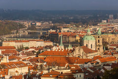 Aerial view over Church of Our Lady before Tyn, Old Town and Prague Castle at sunset in Prague, Czech Republic Stock Photography