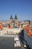 Aerial view over Church of Our Lady before Tyn at Old Town square in Prague,. Czech Republic Royalty Free Stock Photography