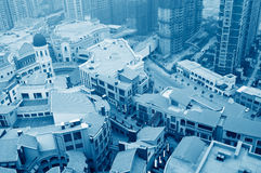 Aerial view over the city. In shanghai China royalty free stock photography