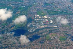 Aerial view over the city Stock Photos