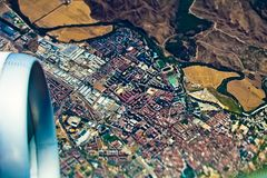 Aerial view over city