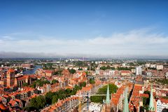 Aerial View Over City Of Gdansk In Poland. Old Town from above Stock Photography