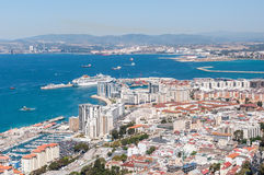 Aerial view over city of Gibraltar Royalty Free Stock Images