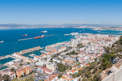 Aerial view over city of Gibraltar Stock Images