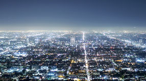 Aerial view over the city of Los Angeles by night - view from Griffith Observatory - LOS ANGELES - CALIFORNIA - APRIL 20 Stock Photo