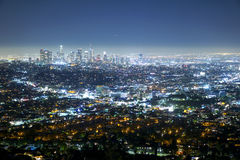 Aerial view over the city of Los Angeles by night - view from Griffith Observatory - LOS ANGELES - CALIFORNIA - APRIL 20 Royalty Free Stock Photos