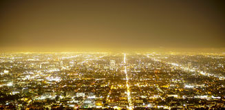Aerial view over the city of Los Angeles by night - view from Griffith Observatory - LOS ANGELES - CALIFORNIA - APRIL 20 Royalty Free Stock Photography
