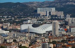Aerial view over the city of Marseille, the Stade Velodrome.