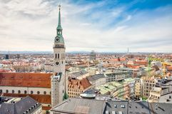 Aerial view over the city of Munich Stock Photos