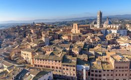 Aerial view over the city of Siena, tuscany, Italy. The historic centre of Siena has been declared by Unesco a World Heritage Site Stock Photo