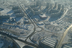 Aerial view over city. Royalty Free Stock Image