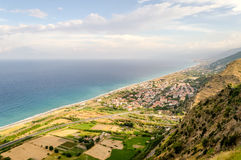 Aerial view over the coastline in Calabria, Italy Royalty Free Stock Photos