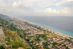 Aerial view over the coastline in Calabria, Italy Royalty Free Stock Image