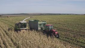 Aerial view over Combine harvester unloading corn in tractor tow while harvesting in corn field stock video
