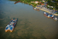 Aerial view over Danube Royalty Free Stock Photo