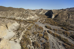 Aerial view over the desert mountains of Almeria. In Andalusia, Spain Stock Photography