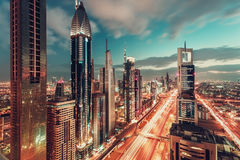 Aerial view over downtown Dubai, UAE, with the famous highway and skyscrapers Royalty Free Stock Photos