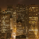 Aerial view over downtown San Francisco by night. Aerial of San Francisco by night Stock Images