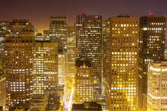 Aerial view over downtown San Francisco by night. Aerial of San Francisco by night Stock Photography